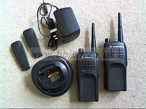 Pair UHF Motorola GP320 walkie talkies, charger etc