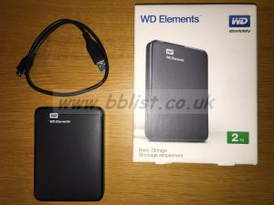 Western Digital Elements 2Tb hard drive USB 3.0