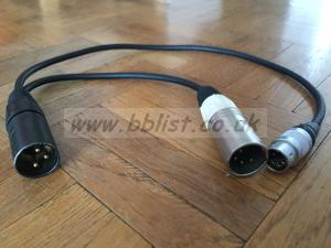 XLR 3 Single Powered XLR 4 Lemo 6 Output Cable