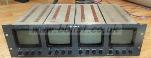 Sony PVM-411CE Quad Bank B/W 3u Monitor Rack