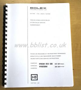Bolex H16 Spare parts and service instructions