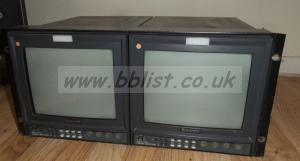 2x Ikegami TM-10-17 Pal 450TV Lines Broadcast Monitor Rack