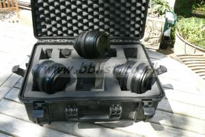 Set of cased Sony Mk1 PL lenses 35mm, 50mm, 85mm