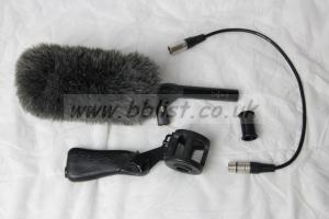 Sennheiser ME66 / K6 mic with Rycote pistol grip and fluffy