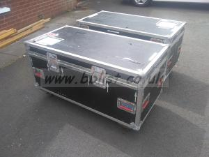 2x large box lenses flight cases on wheels