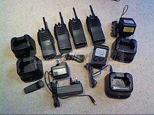 4x Icom walkie talkies and 4x chargers etc