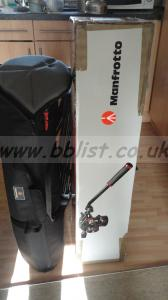 Manfrotto 525 MBV and 503 head tripod with spreader and bag