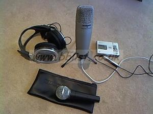 Samson USB Studio mic and Shure SM58 etc