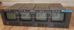 Sony PVM-411CE Quad B/W Video Monitors Rack