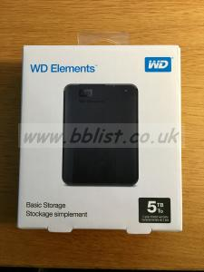 WD Elements 5TB USB 3.0 hard drive, unopened as new