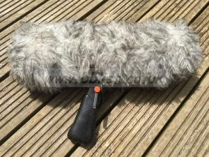 Sennheiser MKH-416 P48 with Rycote wind basket and dead cat