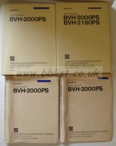 """SONY BVH 2000PS (1"""" C FORMAT) MANUALS"""