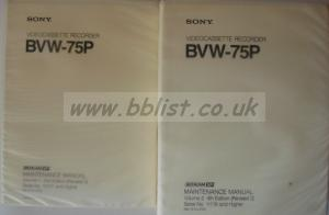 SONY BVW-75P BETACAM SP MANUALS
