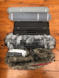 Sennheiser MKH70,  Rycote suspension and baskets and covers