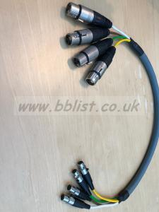 Short 4 way TA3 mini XLR to standard XLR loom