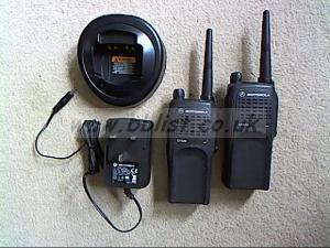 Motorola GP320 walkie talkies and  chargers.